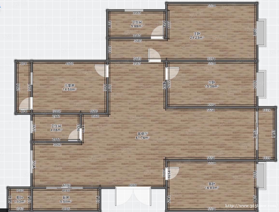万达洋房,户型方正通透,可改4房甚至5房